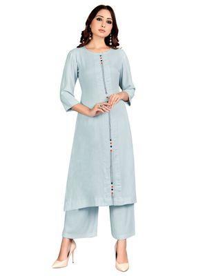 Blue plain rayon party-wear-kurtis