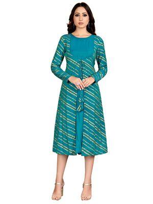 Blue printed cotton party-wear-kurtis