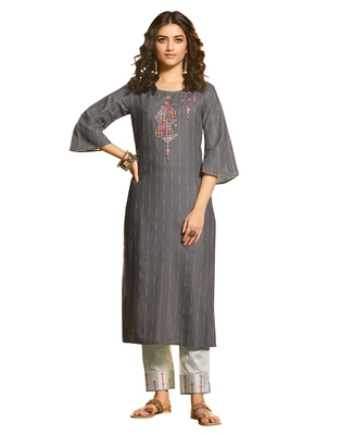 Grey Color Embroidred straight Soft Blend Cotton Kurta set with pant
