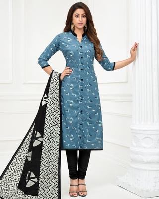 Blue printed pure cotton salwar