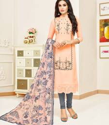 Peach embroidered faux silk blend salwar