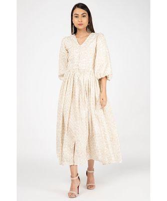 Beige Gold Print Dress