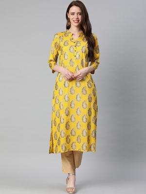 Yellow printed viscose rayon kurtas-and-kurtis