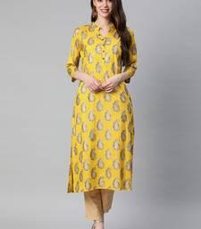 Yellow printed viscose rayon kurtas-and-kurtis