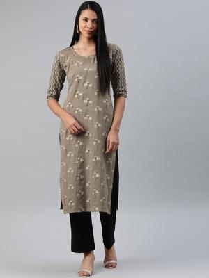 Brown printed cotton cotton-kurtis