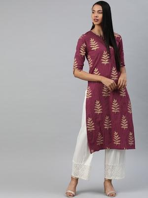 Mauve printed cotton cotton-kurtis