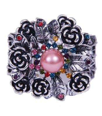 Floral Silver Oxidized Multicolor Beads Ethnic Bracelet