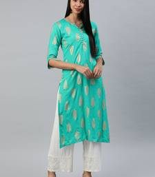 Sea-green printed viscose rayon kurtas-and-kurtis