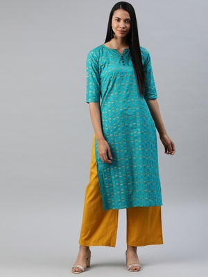 Sea-green printed cotton cotton-kurtis