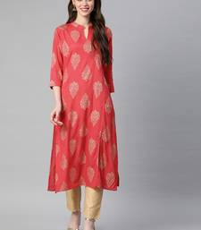 Pink printed viscose rayon kurtas-and-kurtis