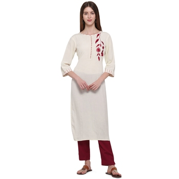 Maroon embroidered cotton ethnic-kurtis