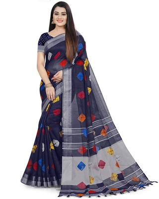 Navy blue woven linen saree with blouse