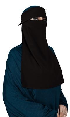 JSDC Women's Daily Wear Bubble Georgette Plain Single Layer Cap Niqab Nosepiece Hijab