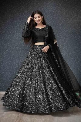Black plain velvet semi stitched lehenga