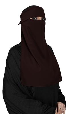 JSDC Women Bubble Georgette Plain Single Layer Cap Niqab Nosepiece Hijab
