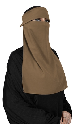 JSDC Women Occasion Wear Bubble Georgette Plain Single Layer Cap Niqab Nosepiece Hijab