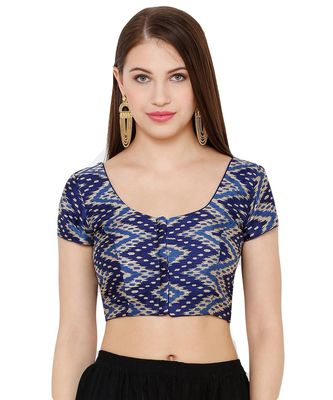 Women's Navy Blue Silk Blend Readymade Saree Blouse