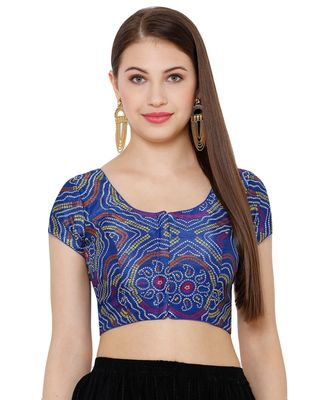 Women's Royal Blue Silk Blend Readymade Saree Blouse