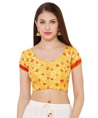 Women's Yellow Silk Blend Readymade Saree Blouse