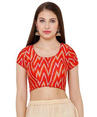 Women's Orange & Red Silk Blend Readymade Saree Blouse