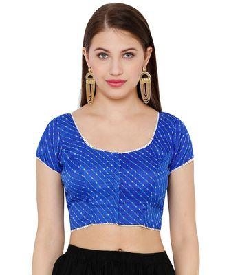 Women's Blue Silk Blend Readymade Saree Blouse