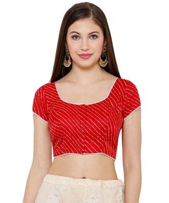 Women's Red Silk Blend Readymade Saree Blouse