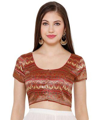 Women's Maroon & Gold Silk Blend Readymade Saree Blouse