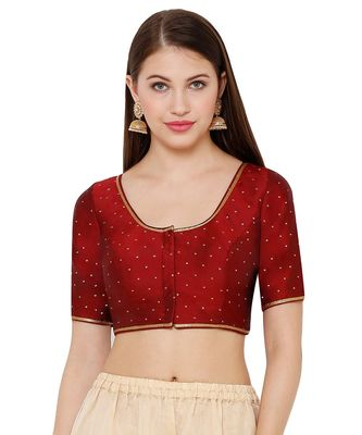 Women's Maroon Silk Blend Readymade Saree Blouse