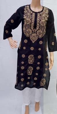 Black embroidered cotton kurtis