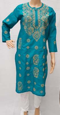 Teal-blue embroidered cotton kurtis