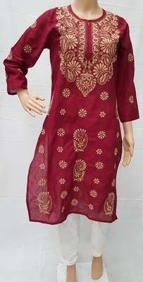 Maroon embroidered cotton kurtis