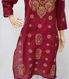 Maroon embroidered cotton kurtis