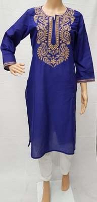 Royal-blue embroidered cotton kurtis