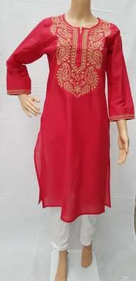 Dark-pink embroidered cotton kurtis