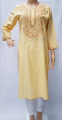 Fawn embroidered cotton kurtis
