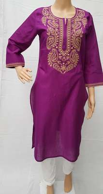 Purple embroidered cotton kurtis