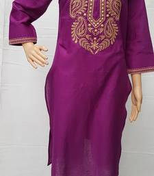 Purple embroidered cotton kurtis