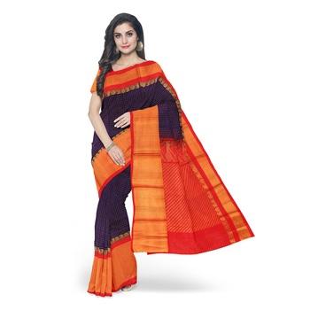 Royal blue hand woven andhra pradesh handloom saree with blouse