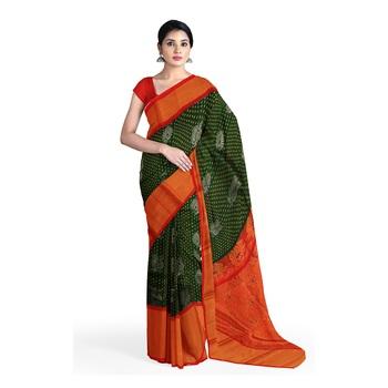 Dark green hand woven andhra pradesh handloom saree with blouse