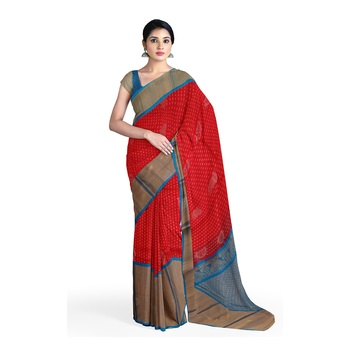 Pink hand woven andhra pradesh handloom saree with blouse