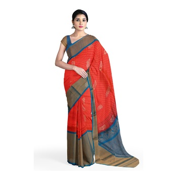 Light pink hand woven andhra pradesh handloom saree with blouse