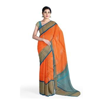 Light orange hand woven andhra pradesh handloom saree with blouse
