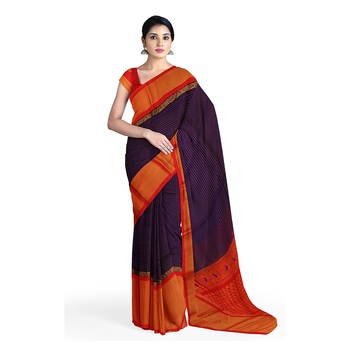 Blue hand woven andhra pradesh handloom saree with blouse