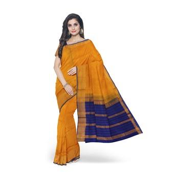 Mustard hand woven andhra pradesh handloom saree with blouse