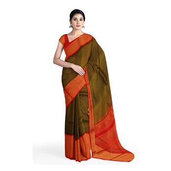 Olive hand woven andhra pradesh handloom saree with blouse