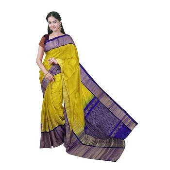 Yellow hand woven andhra pradesh handloom saree with blouse