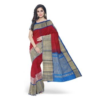 Red hand woven andhra pradesh handloom saree with blouse