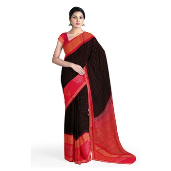 Black hand woven andhra pradesh handloom saree with blouse