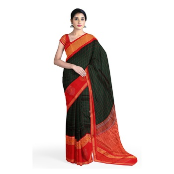 Dark green hand woven andhra pradesh handloom saree with blouse