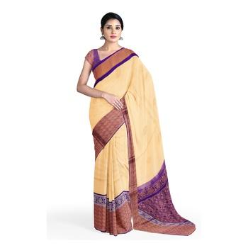 Cream hand woven andhra pradesh handloom saree with blouse